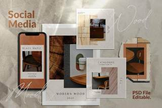 社交媒体营销模板PSD界面设计素材WOOD MOOD - Instagram Social Media + Stories