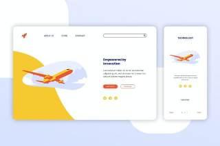 飞机航空登录页网页UI界面手机移动端插画APP设计矢量素材Illustration Landing Page & Onboarding Mobile App