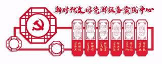 新时代文明党群服务实践中心党建文化墙PSD设计宣传栏展板