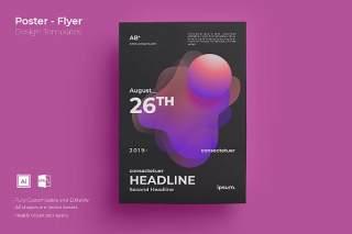 渐变色创意图形抽象海报模板封面设计AI矢量背景素材ADL-Poster Design.04