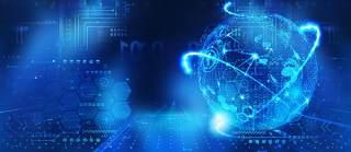 蓝色科技企业舞台会议互联网高端论坛背景PSD展板素材横版23