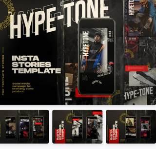 社交媒体移动界面PSD素材Hypetone - Social Media & Instastories Template