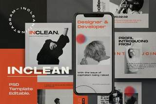社交媒体工具包PSD界面设计素材INCLEAN - Social Media Kit Post & Stories PACK 1