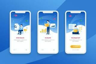 蓝色登陆屏幕移动应用程序APP界面人物概念插画Onboarding Screens Mobile App