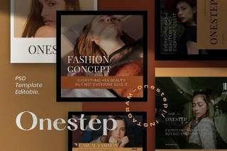 移动端广告界面设计PSD设计素材模板One Step PACK 2 - Instagram Template + Stories