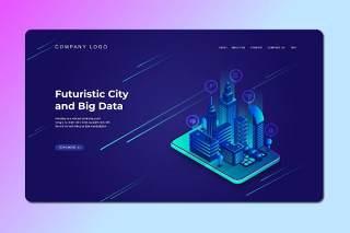 深蓝色2.5D插画等距登录页创意未来城市与大数据数字概念WEB网页界面模板设计AI矢量素材Isometric Landing Page