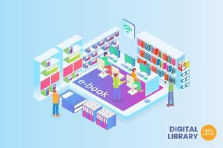 2.5D等距数字图书馆矢量插画AI素材场景概念Isometric Digital Library Vector Concept
