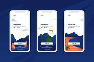 登陆屏幕移动应用程序APP界面风景概念插画Onboarding Screens Mobile App