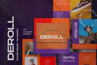移动端应用界面PSD设计素材DEROLL PACK 2- Instagram Template + Strories