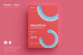 红色创意图形抽象海报模板封面设计AI矢量背景素材ADL-Poster Design.05