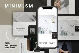 极简主义社交媒体工具包PSD界面设计素材MINIMALISM - Social media Kit