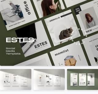 移动端社交媒体营销包广告设计PSD素材ESTES - Clean Social Media Marketing Pack 2