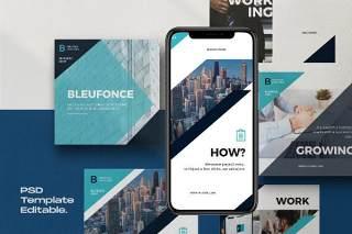企业社交媒体工具包PSD界面设计素材Bluefonce Pack 2- Corporate Social media Kit