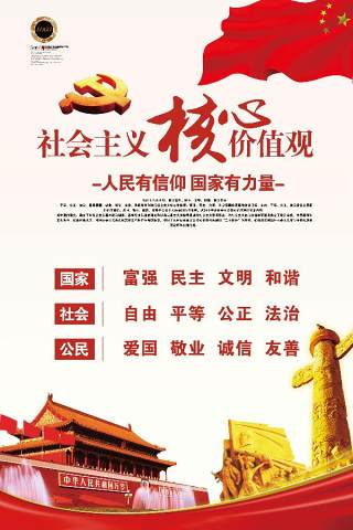 社会主义核心价值观宣传栏挂画文化社区模板