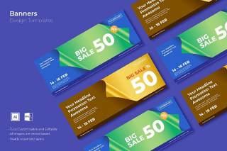 优惠促销网页banner模板平面广告AI矢量抽象背景素材SRTP Banners Template.27