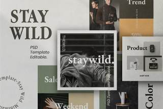 品牌社交媒体工具包PSD界面设计素材Staywild - Brand Social Media Kit Pack 2
