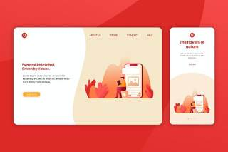 红色简约登录页网页UI界面手机移动端人物插画APP设计矢量素材Illustration Landing Page & Onboarding Mobile App