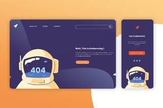 深色404网页无法打开网页UI界面手机移动端人物插画APP设计矢量素材Illustration Landing Page & Onboarding Mobile App