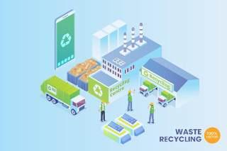2.5D等距智能废物回收矢量插画AI素材场景概念Isometric Smart Waste Recycling Vector Concept