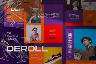 图片分享移动界面PSD设计素材DEROLL PACK 1- Instagram Template + Strories