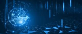 蓝色科技企业舞台会议互联网高端论坛背景PSD展板素材横版30