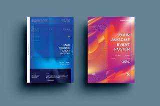 渐变紫橙色创意图形抽象海报模板封面设计AI矢量背景素材ADL-Poster Design.13
