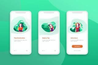 绿色简洁登陆屏幕移动应用程序手机APP界面人物概念插画Onboarding Screens Mobile App