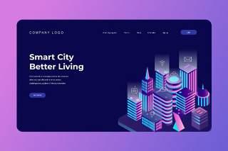 2.5D插画等距登录页创意智能城市生活数字概念WEB网页界面模板设计AI矢量素材Isometric Landing Page