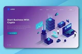 紫色2.5D插画等距登录页创意用加密技术创业区块链数字概念WEB网页界面模板设计AI矢量素材Isometric Landing Page