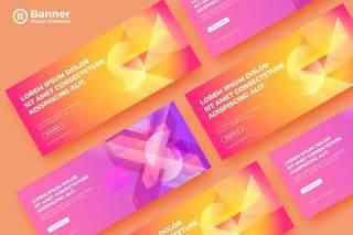 橙色粉色炫彩渐变网页banner模板平面广告AI矢量抽象背景素材SRTP Banners Template.08