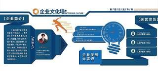 蓝色微立体高端商务企业发展形象文化墙宣传栏展板模板