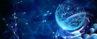蓝色科技企业舞台会议互联网高端论坛背景PSD展板素材横版28
