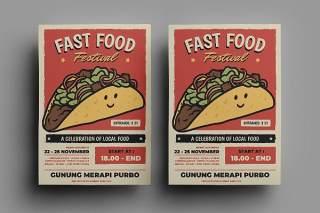 快餐传单宣传页设计促销折扣单页AI矢量素材Fast Food Flyer Design.17