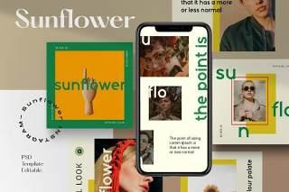 社交媒体PSD移动界面平面广告设计素材Sunflower- Social Media Pack 1