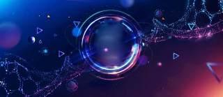 蓝色科技企业舞台会议互联网高端论坛背景PSD展板素材横版26