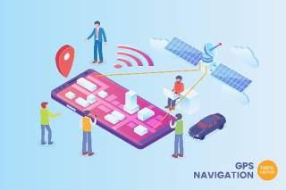 2.5D等距GPS导航技术矢量插画AI素材概念场景Isometric GPS Navigation Technology Vector Concept