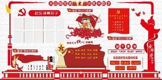社区办公室党建文化墙宣传栏PSD分层设计素材展板
