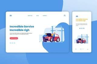 汽车售后服务登录页网页UI界面手机移动端插画APP设计矢量素材Illustration Landing Page & Onboarding Mobile App
