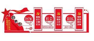 红色社会主义核心价值观党建文化墙宣传栏PSD设计素材