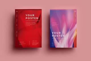 渐变红色创意图形抽象海报模板封面设计AI矢量背景素材ADL-Poster Design.08