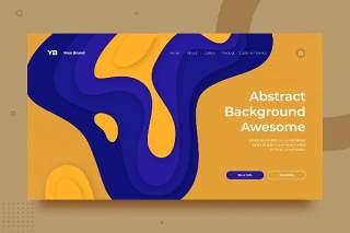 蓝黄色渐变抽象背景平面WEB网页PSD矢量界面素材SRTP Abstract Background.v2.16