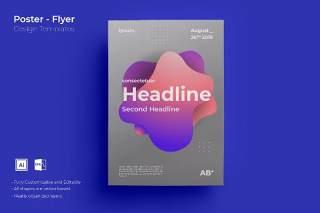 渐变色创意图形抽象海报模板封面设计AI矢量背景素材ADL-Poster Design.03