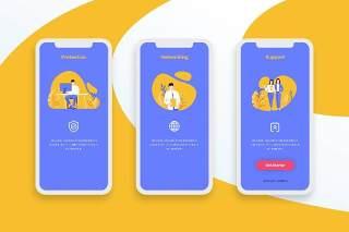 紫色登陆屏幕移动应用程序APP界面办公人物概念插画Onboarding Screens Mobile App