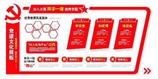 红色两学一做教育专题文化墙宣传栏psd素材展板