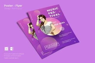 渐变紫色创意图形抽象海报模板封面设计AI矢量背景素材ADL-Poster Design.07不含配图