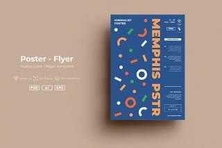蓝色创意图形抽象海报模板封面设计AI矢量背景素材SRTP - Poster Design.48