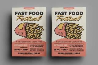 快餐薯条传单宣传页设计促销折扣单页AI矢量素材Fast Food Flyer Design.19