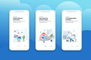 简洁登陆屏幕移动应用程序APP界面办公人物概念插画Onboarding Screens Mobile App