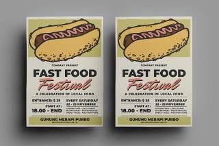 快餐热狗传单宣传页设计促销折扣单页AI矢量素材Fast Food Flyer Design.20