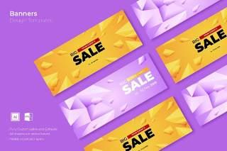 优惠促销网页banner模板平面广告AI矢量抽象背景素材SRTP Banners Template.28